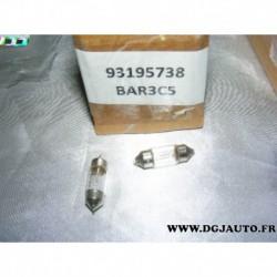 Lot 2 ampoules navette 10w plafonnier eclairage 93195738 pour opel agila B partir 2008