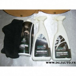 Pack nettoyant entretien auto 1 creme pour cuir sans silicone un shampoing a sec un nettoyant jantes et un chiffon sodistore