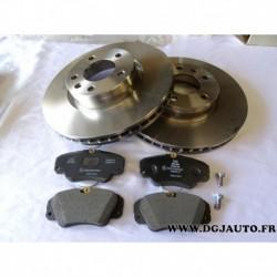 Kit paire disque de frein avant ventilé + jeux 4 plaquettes avant 93175466 pour opel omega A B senator B dont V6