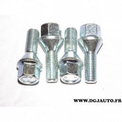 Lot 4 boulons conique chrome ecrou de roue M12x1.5 L25 H17 980094 pour BMW volkswagen audi seat skoda