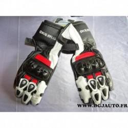 Paire gant moto racing noir blanc rouge 726183 Tytan road taille S