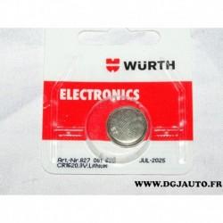 Pile ronde lithium 3V 827081620 clé télécommande ouverte porte CR1620 wurth